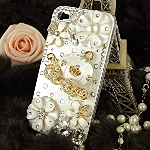 3d Bling Crystal Cinderella's pumpkin cart stone case for iphone 4/4s best gift for girl