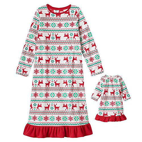 Doll & Toddler Matching Christmas Pajamas Fleece Nightgown