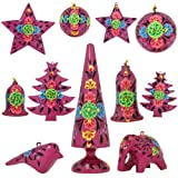 Set of 11 Purple Floral Paper Mache Diwali Ornaments - Handmade Indian Gifts