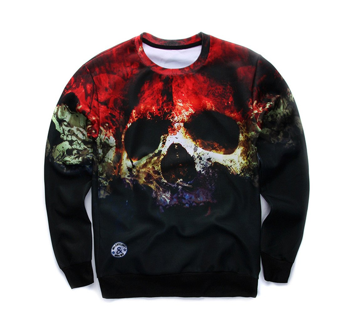 Autumn Fashion Hoodies Skull 3D Print Long Sleeve Tee