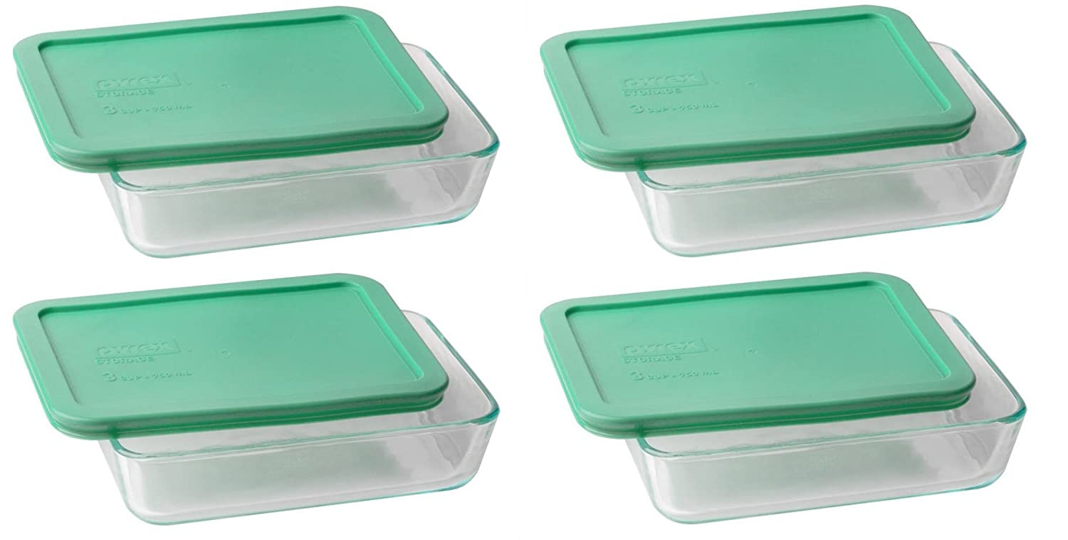Pyrex 36 cup Rectangle Glass Food Storage Containers Pack of 4 4