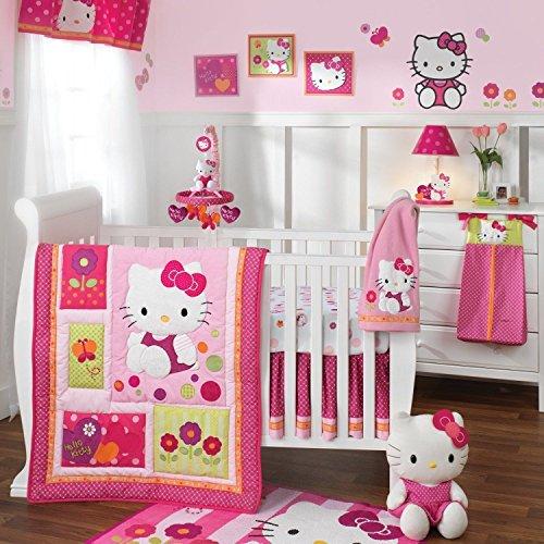 New Baby Nursery Crib Accessories 5Pc Lambs & Ivy Hello Kitty Garden Bedding Set