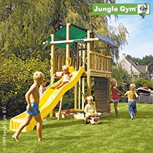 jungle gym spielturm fort mit rutsche gelb spielzeug. Black Bedroom Furniture Sets. Home Design Ideas
