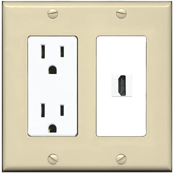 RiteAV - 15 Amp Power Outlet and 1 Port HDMI Decora Type Wall Plate - Ivory/White (Color: Ivory/White)