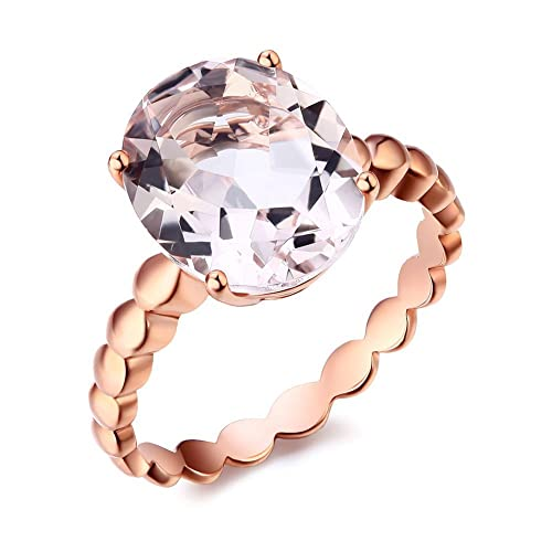 14K Rose Gold Solitaire Wedding Engagement Anniversary Ring 3.3 Ct Natural Morganite