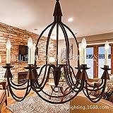 YM@YG Lustre en fer forgé, art créatif de lustre, lustre de bougie de chambre à coucher , imitation patina...