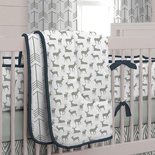 Carousel Designs Navy and Gray Deer 3-Piece Crib Bedding Set