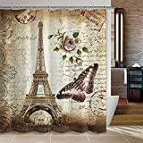 Uphome 72 X 72 Inch Retro Vintage Paris Eiffel Tower Waterproof Kids Bathroom Shower Curtain - Butterfly and Flower...
