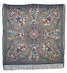 Pavlovoposadskiy Platok Women\'s Russian Wool Shawl With Silk Fringes 50x50\