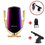 DHong Smart in-Car Mobile Phone Holder IR Sensor Automatic Clamping Plus 10W Qi Wireless Fast Charging Car Charger Compatible for iPhone 8 Xs XR Galaxy S9 S8 S7 Note9 (Gold + Suctorial Cup Bracket) (Color: Gold + Suctorial Cup Bracket)