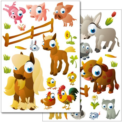 Wandkings wall stickers Farm Animals Sticker Set - more than 35 stickers on 2 US letter sheets (each 8.3 x 11.7 inch) - 1