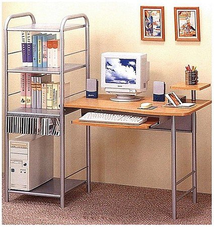 Buy Low Price Comfortable Metal/Pine Finish Computer Desk/Workstation Table w/Book Shelf (B0002KNLOK)