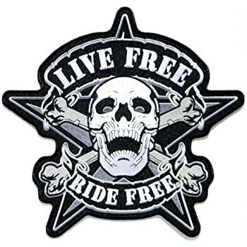 "9.5""x9.5"" Big Jumbo Large LIVE RIDE Free Skull Devil Ghost Motorcycles Biker Rider Jacket T shirt Back Patch Sew Iron on Embroidered Badge Sign Costum"