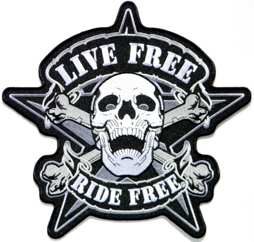 "9.5""x9.5"" Big Jumbo Large LIVE RIDE Free Skull Devil Ghost Motorcycles Biker Rider Jacket T shirt Back Patch Sew Iron on Embroidered Badge Sign Costum 0"