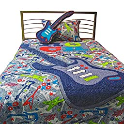 Pur Luxe Boy Zone Quilt, Sham and Guitar Pillow Set, Twin