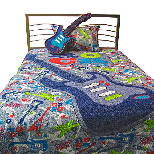 Artistic guitar bedding heart of country music for Guitar bedding for boys