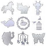 Dies Cut Metal Cutting Dies Stencils Animals Birds Butterfly Deer Swan Elephant Cow Horse Whale for DIY Scrapbooking Photo Album Decorative Embossing DIY Paper Cut Cards Craft(Dies 19) (Color: Dies 19)