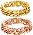 Men's Chain Bracelet Stainless Steel Boss Flat Link Polish Finish by Aienid