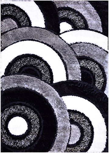 Royal Collection Black Grey White Abstract Contemporary Design Shaggy Area Rug (6051) (3'X5') front-412574