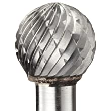 PFERD Ball Carbide Bur, Long-Length, Uncoated (Bright) Finish, Double Cut, Radius End