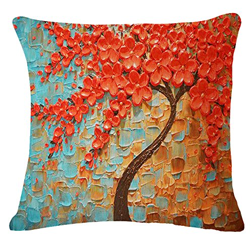 Big Black Decorative Pillows : Oil Painting Black Large Tree and Flower Birds Cotton Linen Throw Pillow Case Cushion Cover Home ...