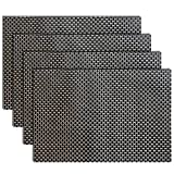 Placemats, Grid Design PVC Insulation Heat Stain Resistant anti-skid eat mats, Use Both Side in Dining Room for Kitchen table(black+gold)