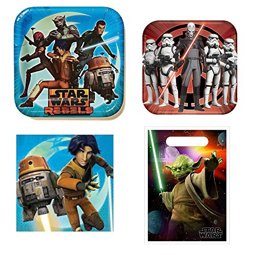 Star Wars Rebels - Birthday Party Pack for 8 guests, dinner plates, cake plates, napkins, treat bags