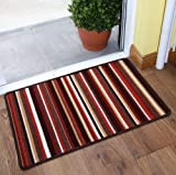 Terracotta Stripe Cheap Non slip Machine Washable Entrance Mat Luna - 8 sizes available