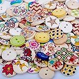 Dowonsol 100個 手芸用木製ボタン詰め合わせ 丸型2穴、カラフル 可愛いナチュラルウッドボタン(15mm)