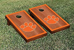 Clemson Tigers Cornhole Game Set Rosewood Stained Border Version