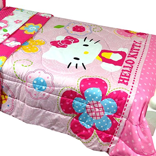 2pc-Sanrio-Hello-Kitty-Twin-Bed-Comforter-Pillow-Sham-Set-Floral-Boutique-Bedding