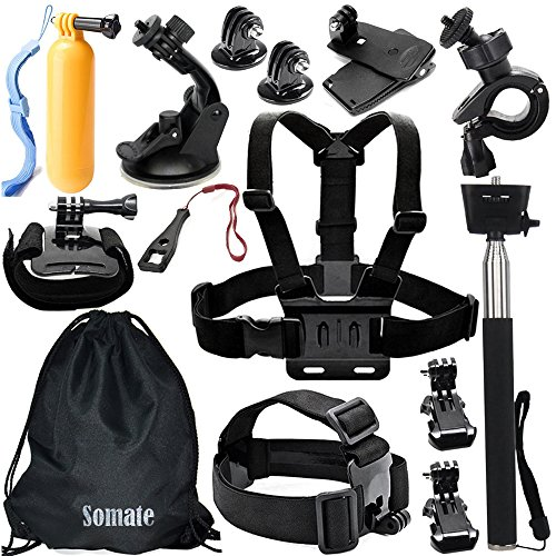 Somate-14-in-1-Essential-Accessory-Kit-Accessories-Bundle-Set-for-Gopro-Hero-4-Hero4-Session-Hero-3321-Silver-BlackXiaomi-YiSJ4000-SJ5000-SJ6000-SJ7000DBPower-EX5000RolleiThiEYE-Action-Camera