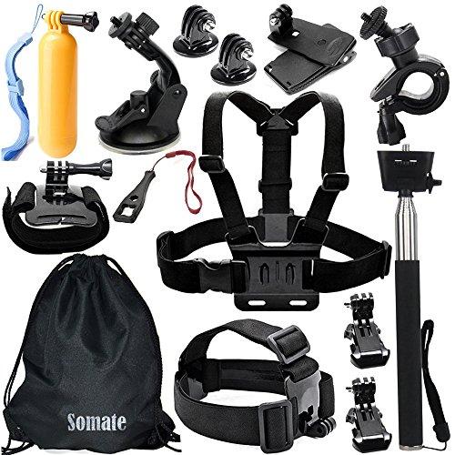 Somate-14-in-1-Essential-Accessory-Kit-Accessories-Bundle-Set-for-Gopro-Hero-4-Hero4-Session-Hero-3321-Silver-BlackXiaomi-YiSJ4000-SJ5000-SJ6000-SJ7000DBPower-EX5000RolleiThiEYE-Action-Camera