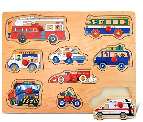 Puzzled Peg Wood Puzzle - Vehicles