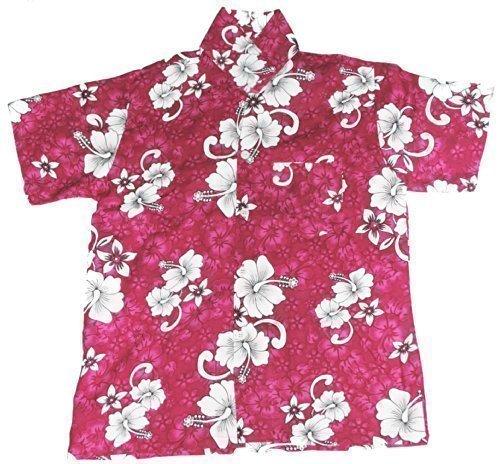 Hawaii Hemd klassik mit Blumenmuster 9-11 Jahre - Dunkelrosa, XL, 9-11 Jahre