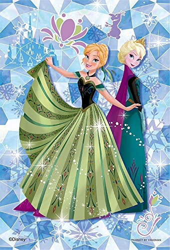 Japan Disney Official Frozen - Anna and Elsa Crystal Snowflake Fantasy Jigsaw Puzzle 70 Pieces Cartoon Style Cover Small Size Prism Art Collection Interior Decorative Wonderful Gift