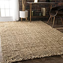 nuLOOM Natural Collection Chunky Loop Jute Natural Fibers Hand Woven Area Rug, 3-Feet by 5-Feet, Natural