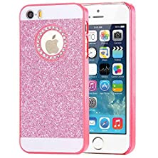 buy Iphone 5 5S Case- Spicyq® 3D Handmade Shiny Bling Pc Case With Glitter Sparkly Crystal Diamond Rhinestone Design Hard Protective Cover For Iphone 5 5S (Pink)