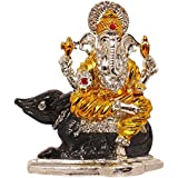 Brass 24 K Gold Plated With Stones Hindu God Shri Ganesh Car Dashboard Statue Lord Ganesha Idol Bhagwan Ganpati Handicraft Decorative Spiritual Puja Vastu Showpiece Figurine - Religious Pooja Gift Item & Murti For Mandir / Temple / Home Decor / Office