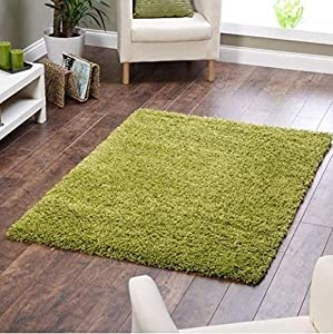 Shaggy Rug Lime Green 963 Plain 5cm Thick Soft Pile Modern 100% Berclon Twist Fibre Non-Shed Polyproylene Heat Set - AVAILABLE IN 6 SIZES by Quality Linen and Towels from Modern Style Rugs