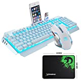 LexonElec@ Technology Keyboard Mouse Combo Gamer Wired Sky Blue LED Backlit Metal Pro Gaming Keyboard + 2400DPI 6 Buttons Mouse + Mouse Pad for Laptop PC (White & Blue Backlit) (Color: White & Blue Backlit)