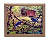Birds Bluebirds Old Bridge Country Home Decor Wall Picture Oak Framed Art Print