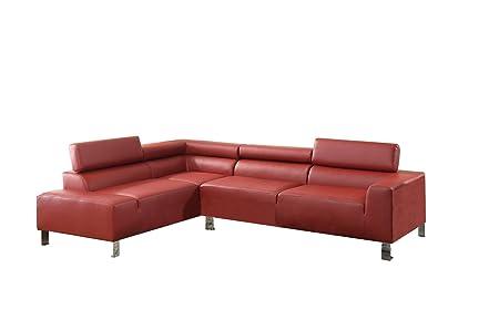 Poundex Bokona Miter Bonded Leather 2 Piece Sectional, Burgundy