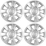 Hubcaps for 15 inch Standard Steel Wheels (Pack of 4) Wheel Covers - Snap On, Silver
