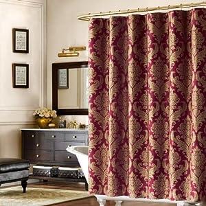 Bombay Pavanne Luxury Dark Red Gold Damask Fabric Shower Curtain Amazo