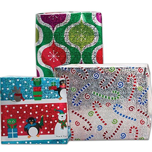JAM Paper® - Assorted Sparkling Christmas Design Wrapping Paper Roll ...