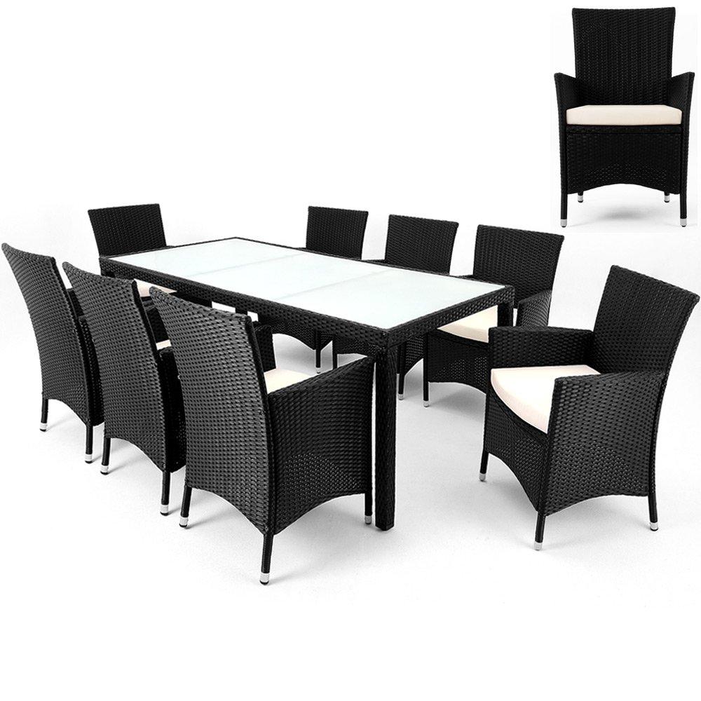 Polyrattan Sitzgruppe 8+1 Sitzgarnitur Gartenmöbel Garten Essgruppe Rattan Lounge online bestellen