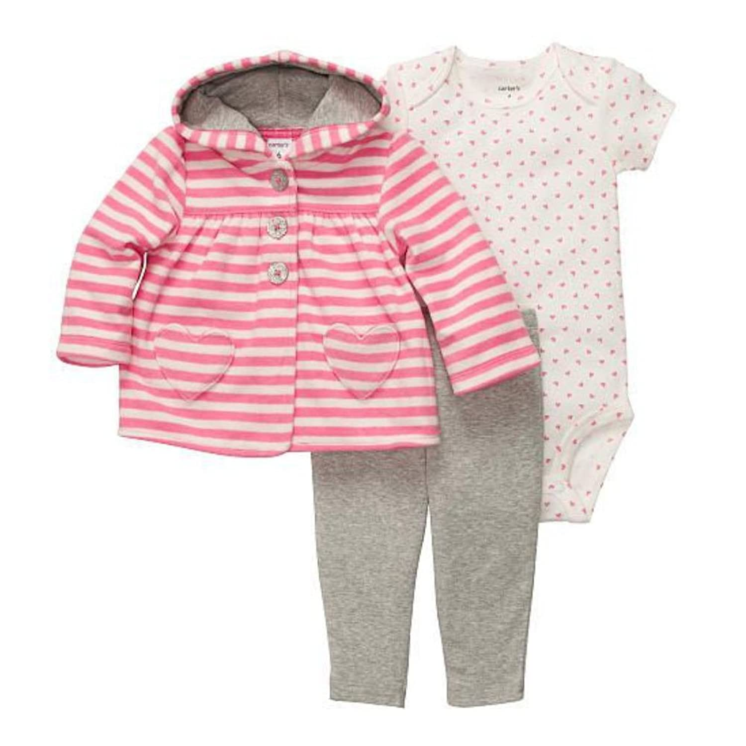 Carters Infant Girls 3 Piece Set Plush Pink Heart Hoodie Leggings & Shirt