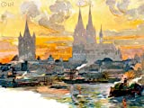 PAINTING POSTCARD COLOGNE CATHEDRAL ST PETRUS DOMKIRCHE RIVER GERMANY 30X40 CMS FINE ART PRINT ART POSTER BB8720