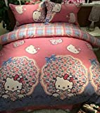 Brandream Pink and Purple Hello Kitty Bedding Cute Cartoon Kids Bedding Set Full Queen Size
